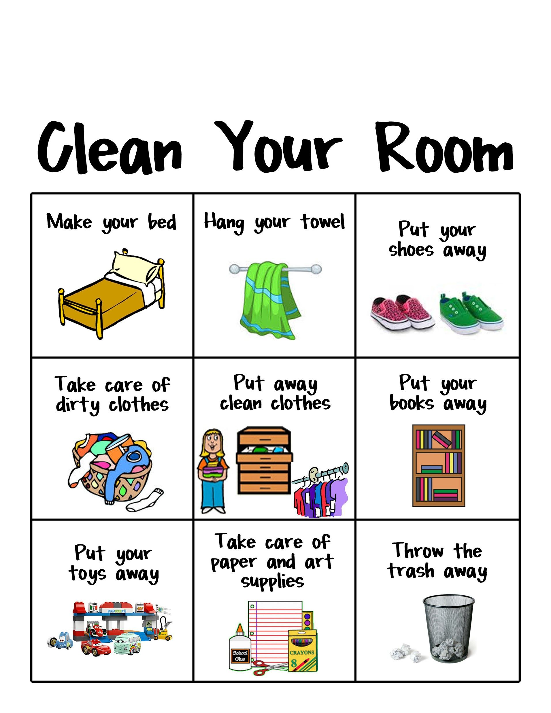 Displaying Clean Your Room Chart