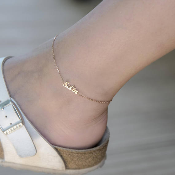 Name Anklet Personalized With Gold Ankle Bracelet Unique Gift For Wife Silver Custom