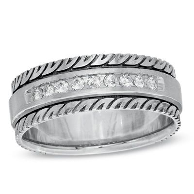 Men S 1 5 Ct T W Diamond Wedding Band In Sterling Silver