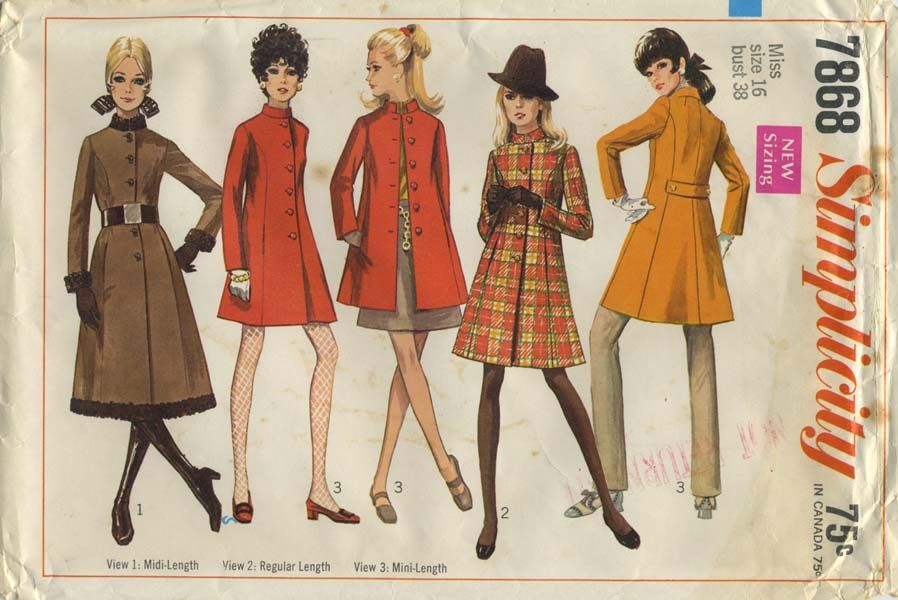 Vintage Sewing Pattern   Coat   Simplicity 7868   Year 1968   Bust ...