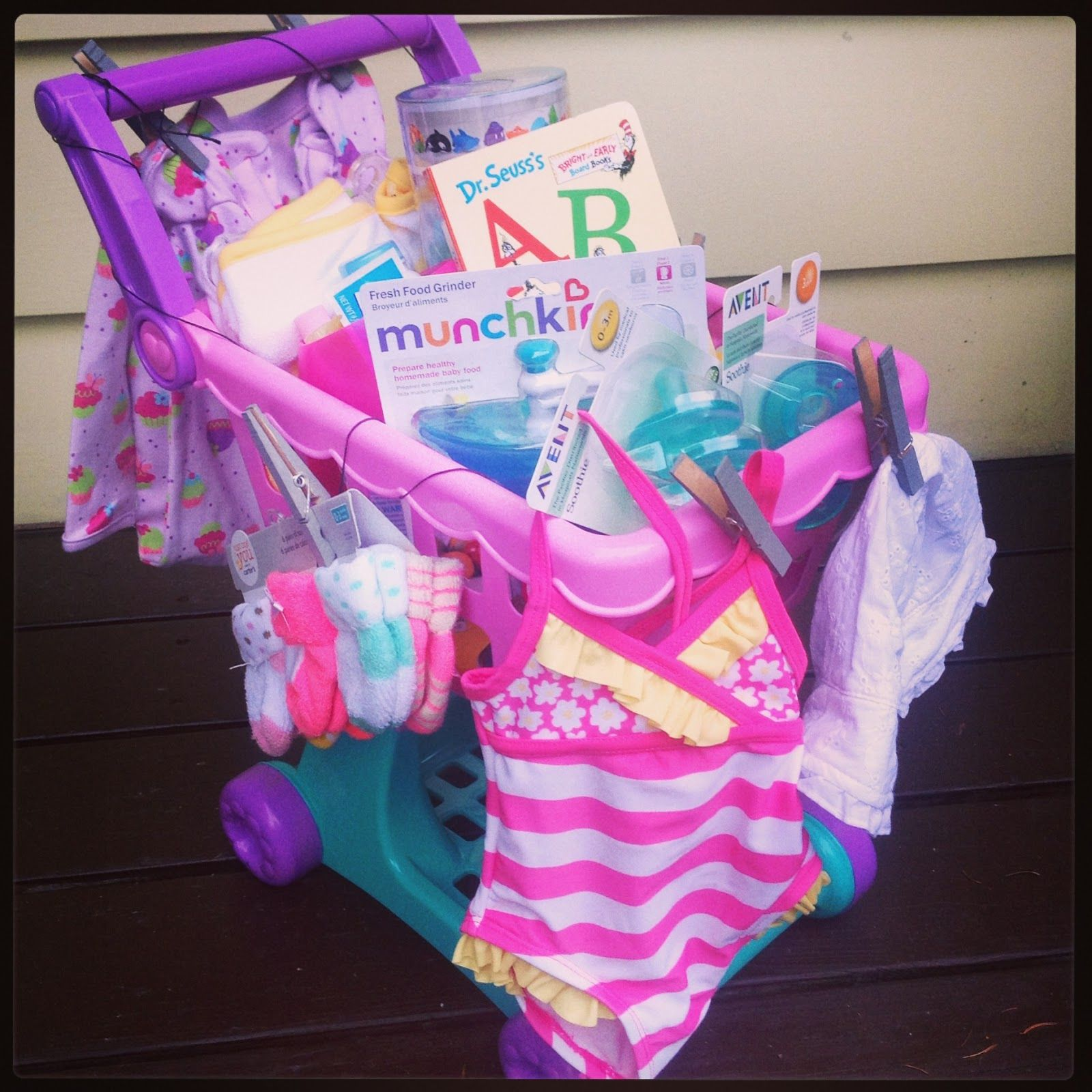 Special baby shower gifts is proud to offer unique baby gifts and love this idea for a gift basket idea for toddler or little girl fill up with goodies mix of dollar store big box store items negle