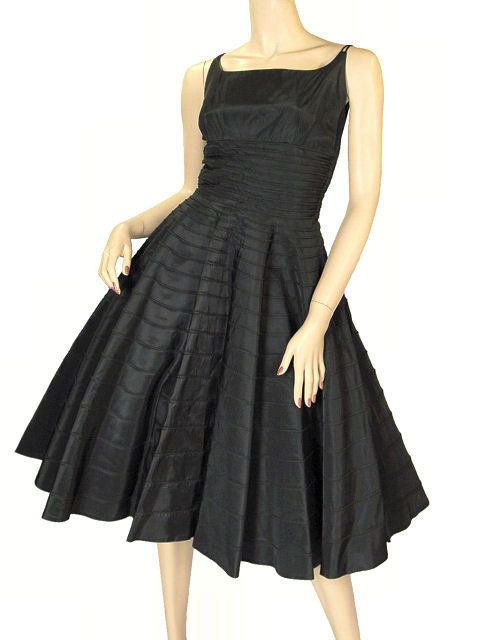Vintage Black Taffeta Concentric Circle Skirt Dress 1950s