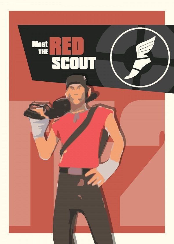 "Team Fortress 2 Characters Meet The Red Scout #Displate explore Pinterest""> #Displate artwork by… 