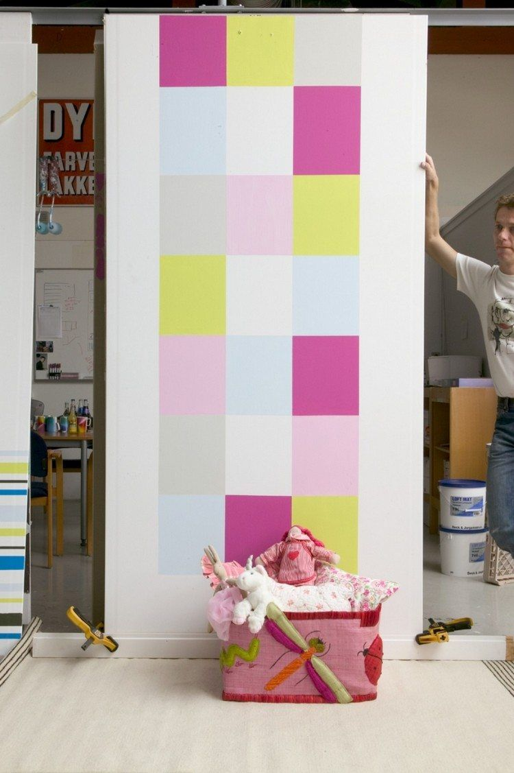 Wandgestaltung Idee für Kinderzimmer - Schachbrettmuster an der Wand ...