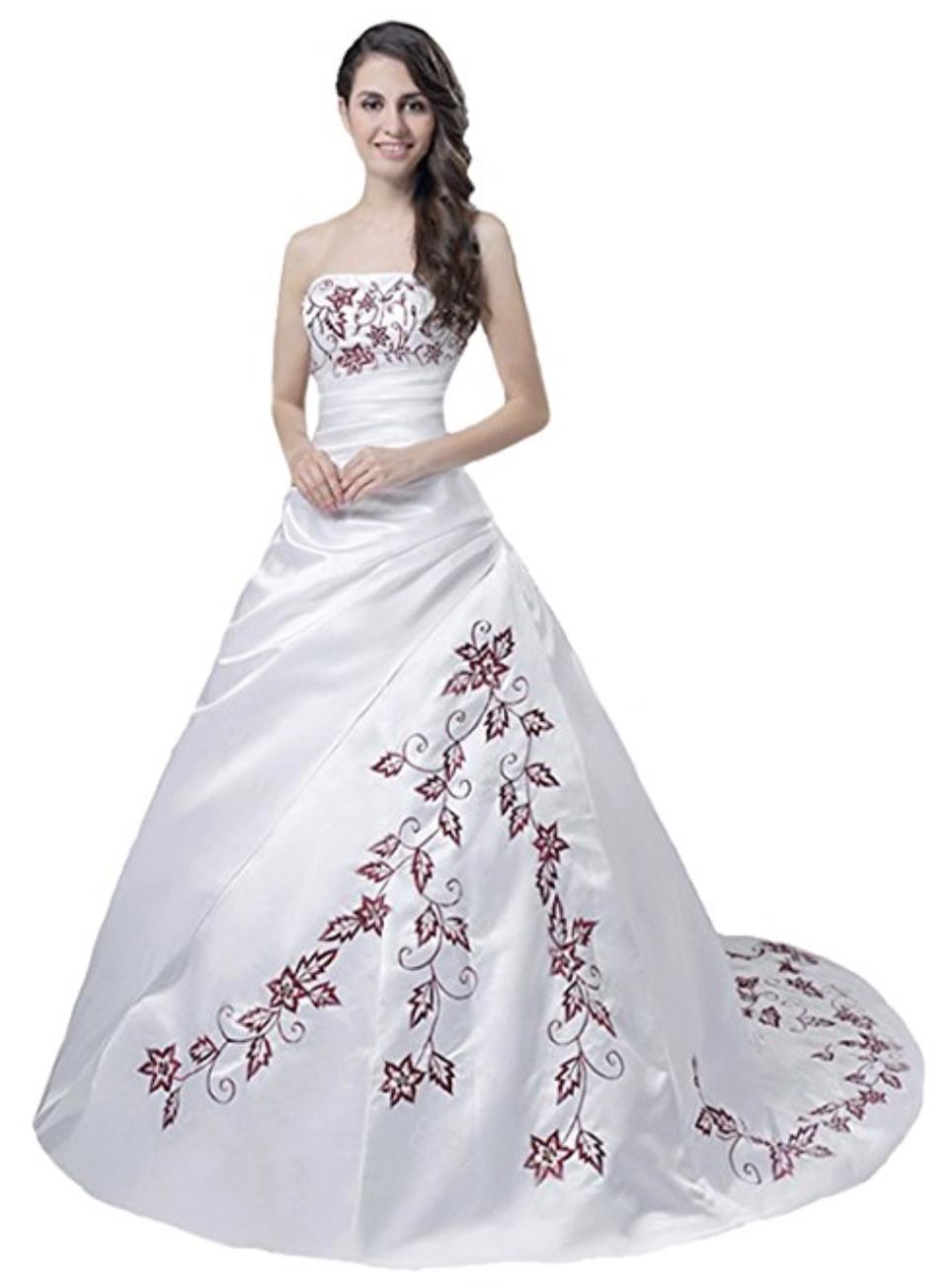 e6abfdd5bb2 Hochzeitskleid Brautkleid Weiß Rot Prinzessin Elegant Edel Wedding Hochzeit  Günstig Sale