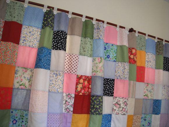 Cortina de retalhos em patchwork a metragem da cortina, o valor e ...