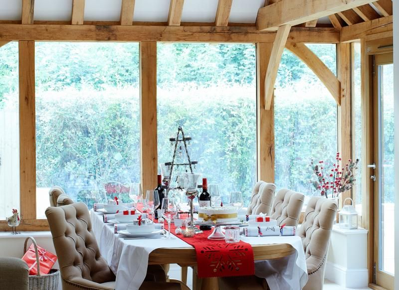 Light-filled Country Dining Room with Rustic Oak Beams
