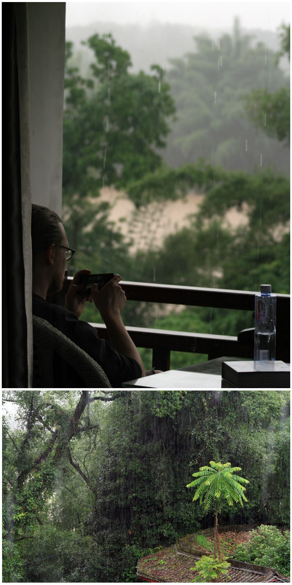 Day 162:  We decided to stay again at the Snow Lion Resort in Yangshuo.  There was a torrential downpour all morning, which gave us a nice excuse to chill on the balcony to do some reading and take in the views.