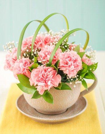 Pink Carnations In A Teacup Easter Flower Arrangements Carnation Wedding Flowers Floral Arrangements