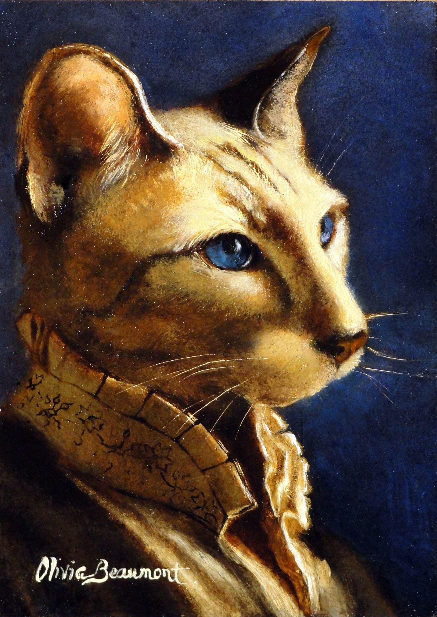 Spoof Siamese Cat Print Mona Kitty original by I Garmashova