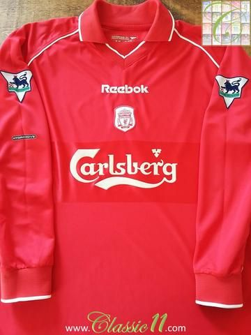 9bad3b98b Relive Liverpool s 2000 2001 Premier League season with this original Reebok  home long sleeve football shirt.