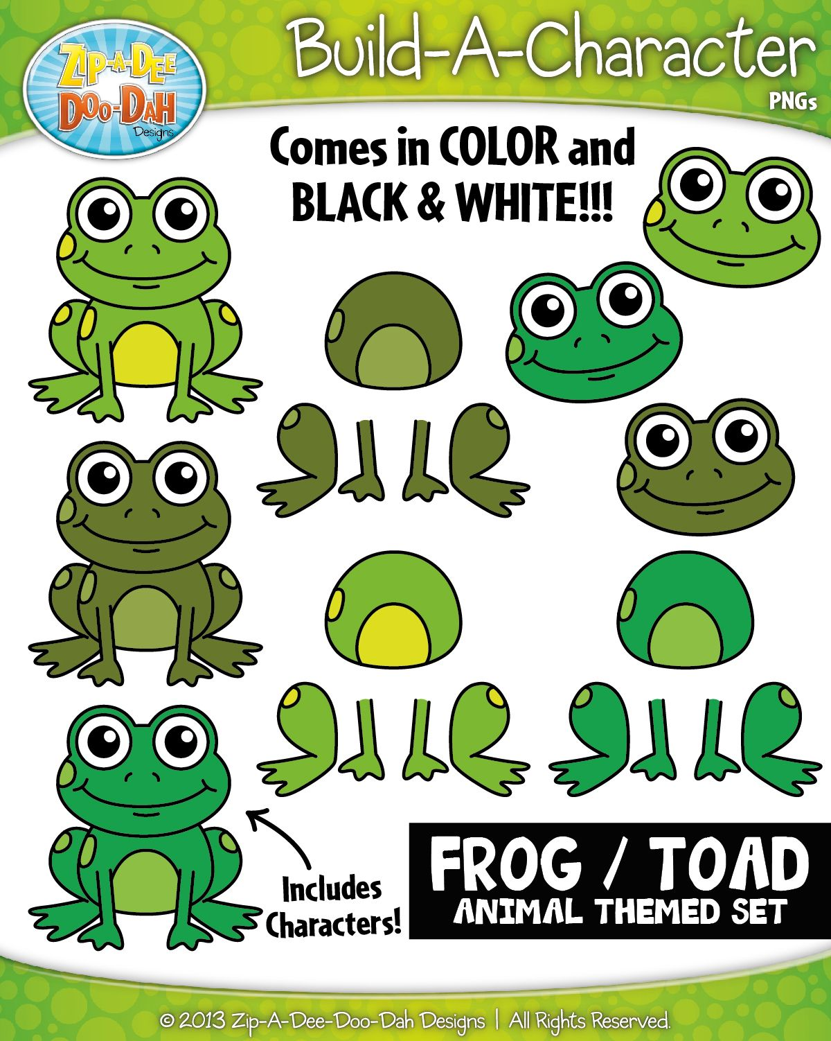 frog toad build a character clipart set includes 25 graphics  [ 1200 x 1502 Pixel ]