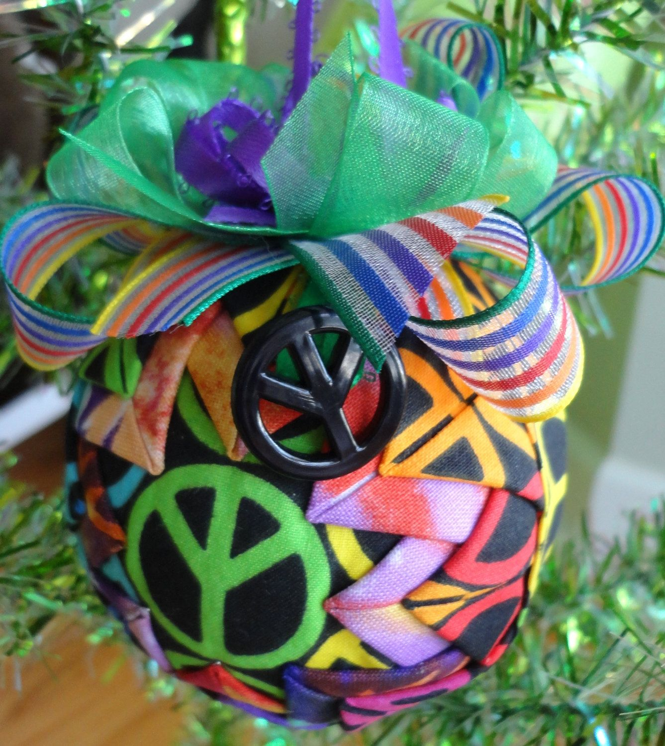 Retro Peace Sign Tie Dye Quilted Christmas Ornament Quilted