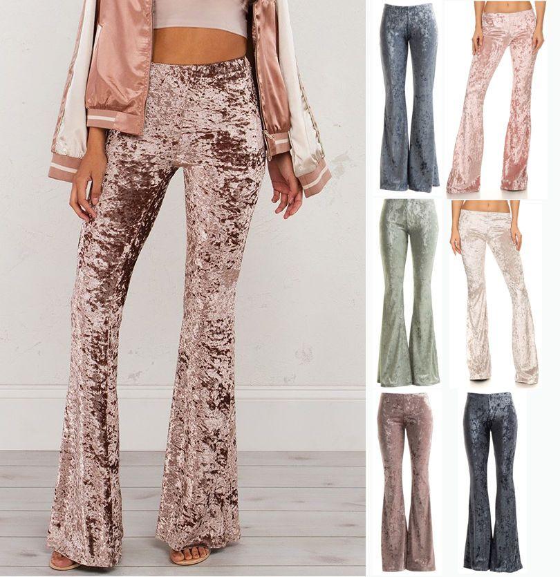 high waist bell bottom flares crush velvet  stretch boho pants