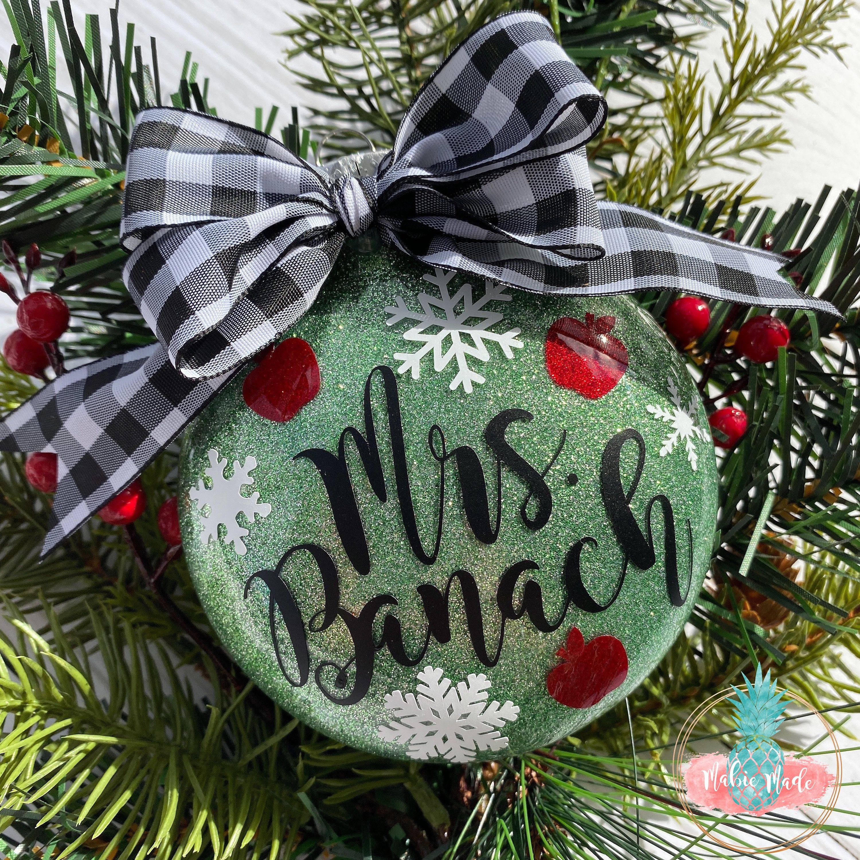 Teacher Christmas Ornament Apple And Snowflake Glitter Etsy Teacher Christmas Christmas Ornaments School Gifts