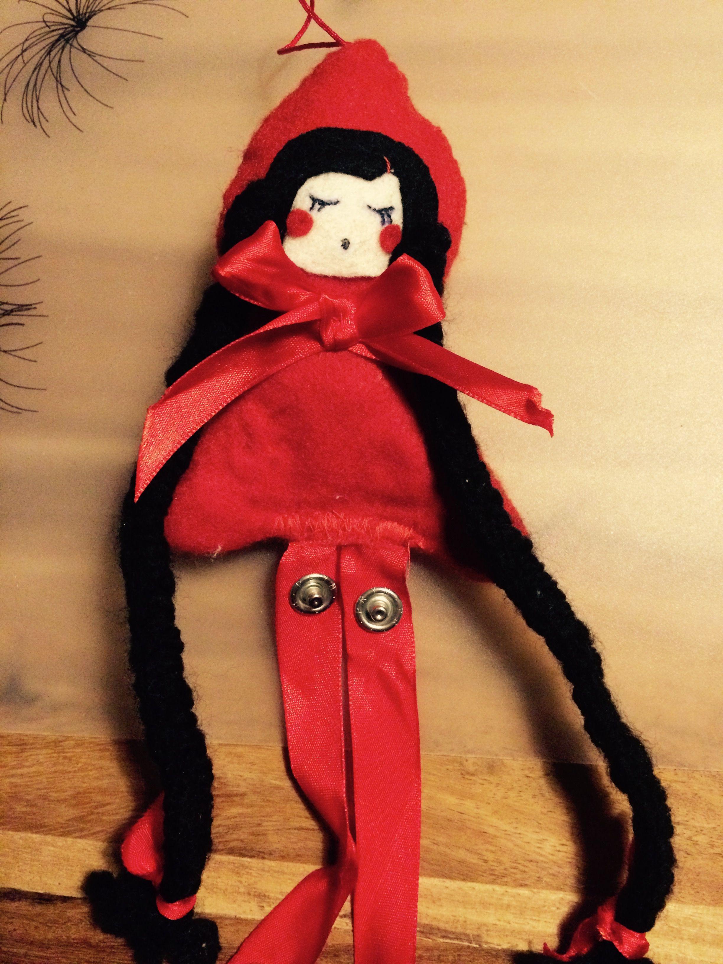 Haarspangenpuppe Rotkäppchen | Fadenherz | Pinterest | Rotkäppchen