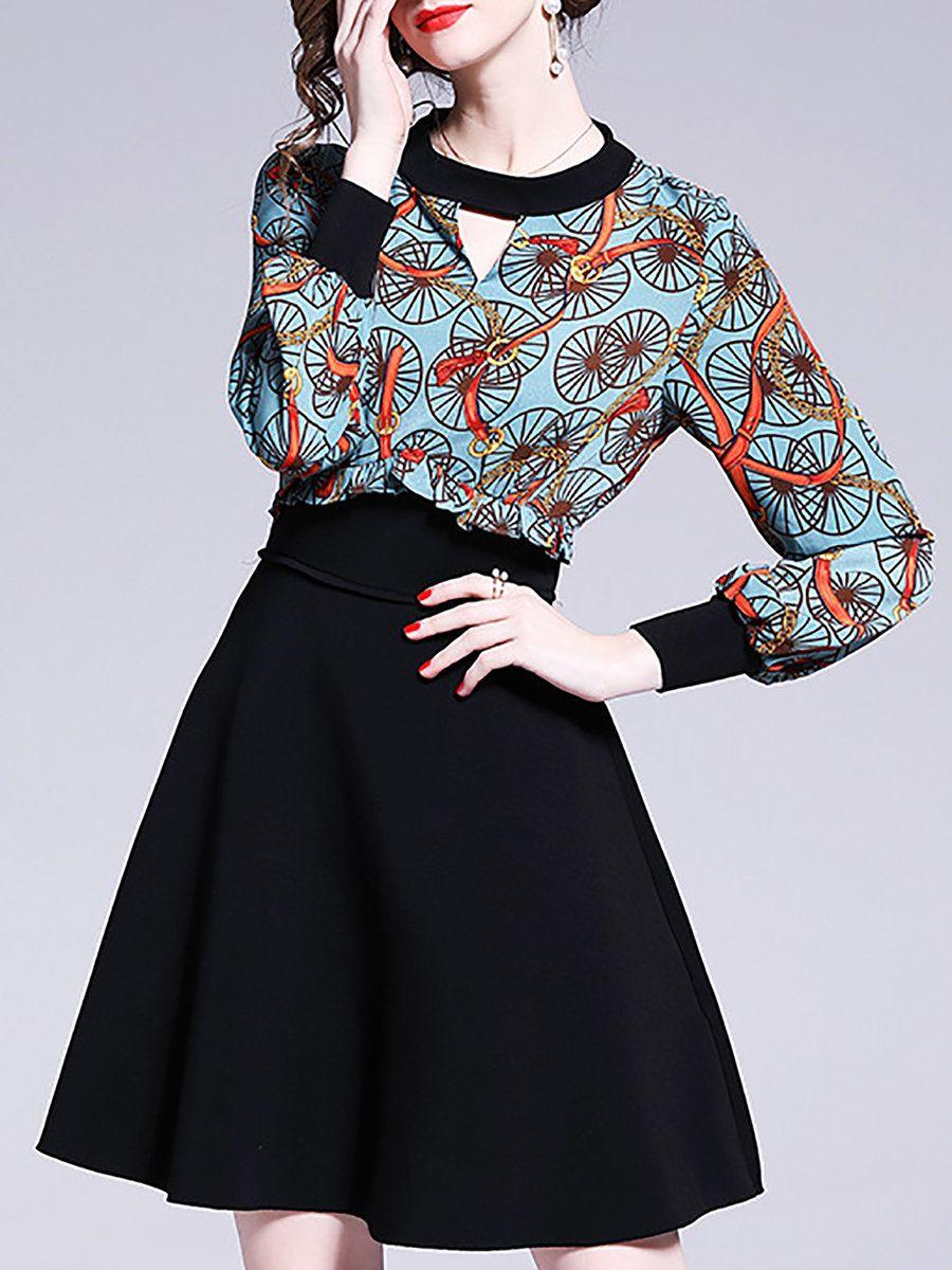 f89eb358da Stylewe Summer Dresses Long Sleeve Casual Dresses Daytime A-Line Keyhole Casual  Printed Dresses
