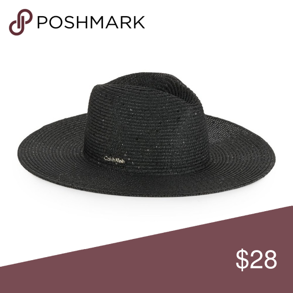 1c63cc90a96 Calvin Klein Sequined Panama Straw Hat Black You will receive the exact  item as pictured
