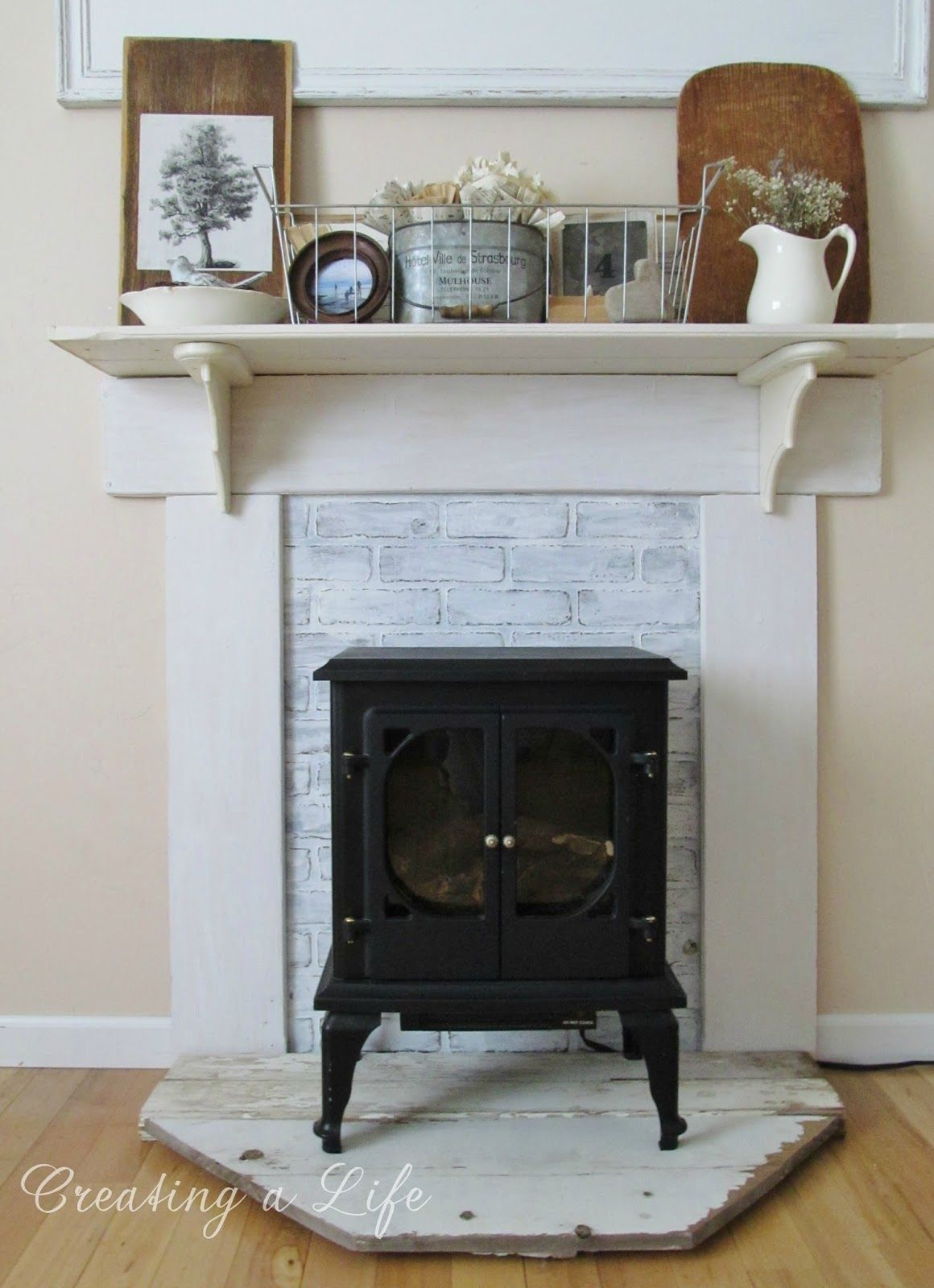 DIY Faux Mantel Update Faux fireplace mantels, Faux