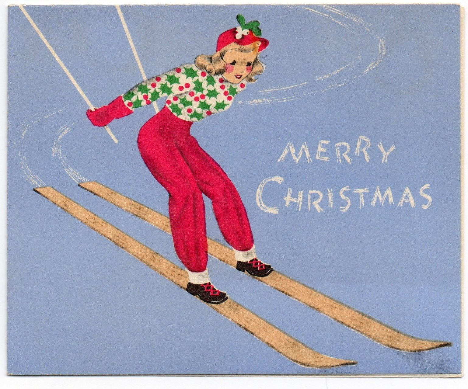 Vtg Norcross Christmas New Year Card~Woman Skiing Skis~Holly Sweater Mistletoe FOR SALE • $5.99 • See Photos! Money Back Guarantee. Vintage Christmas & New Year greeting card shows a pretty woman skiing in red pants, a sweater with holly, and a hat with mistletoeThe card is used and has a 371743216747