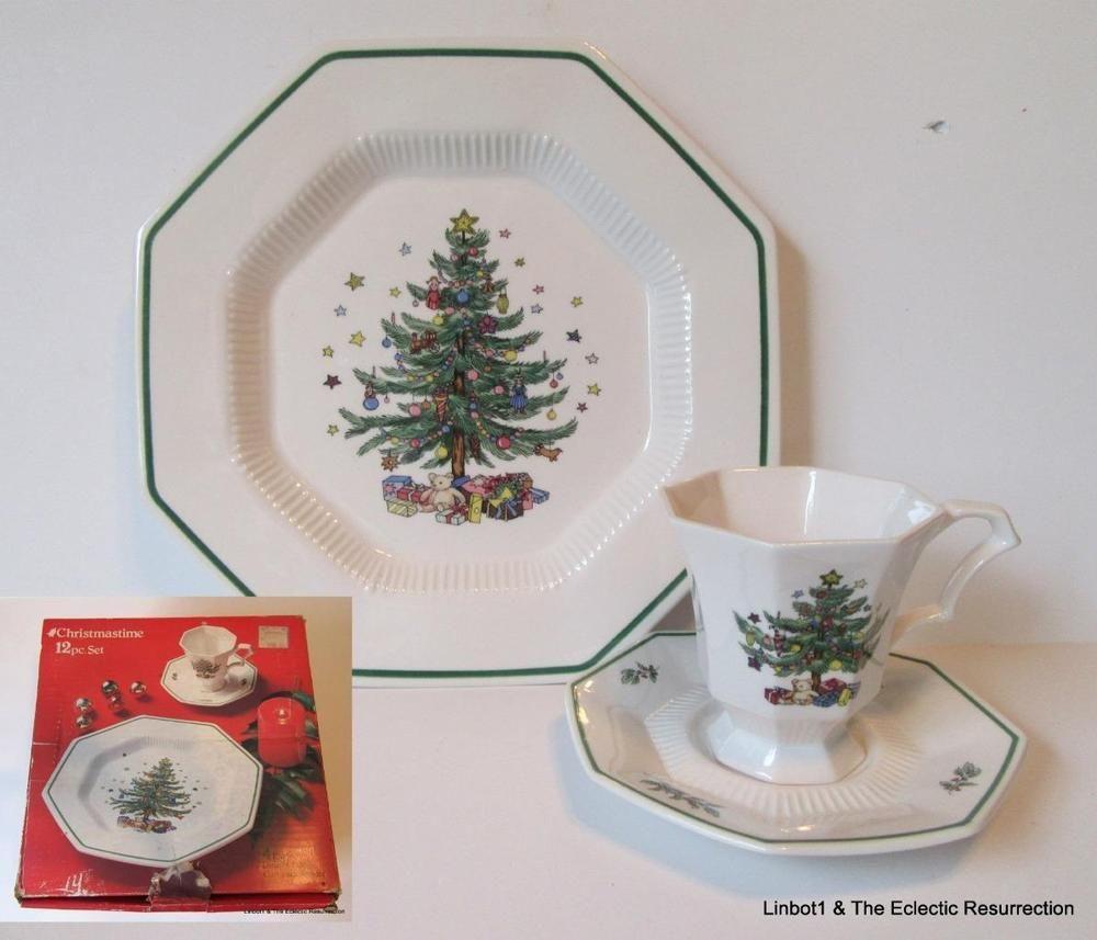 Details about Vintage Nikko Christmastime China 12 Piece Set Service ...