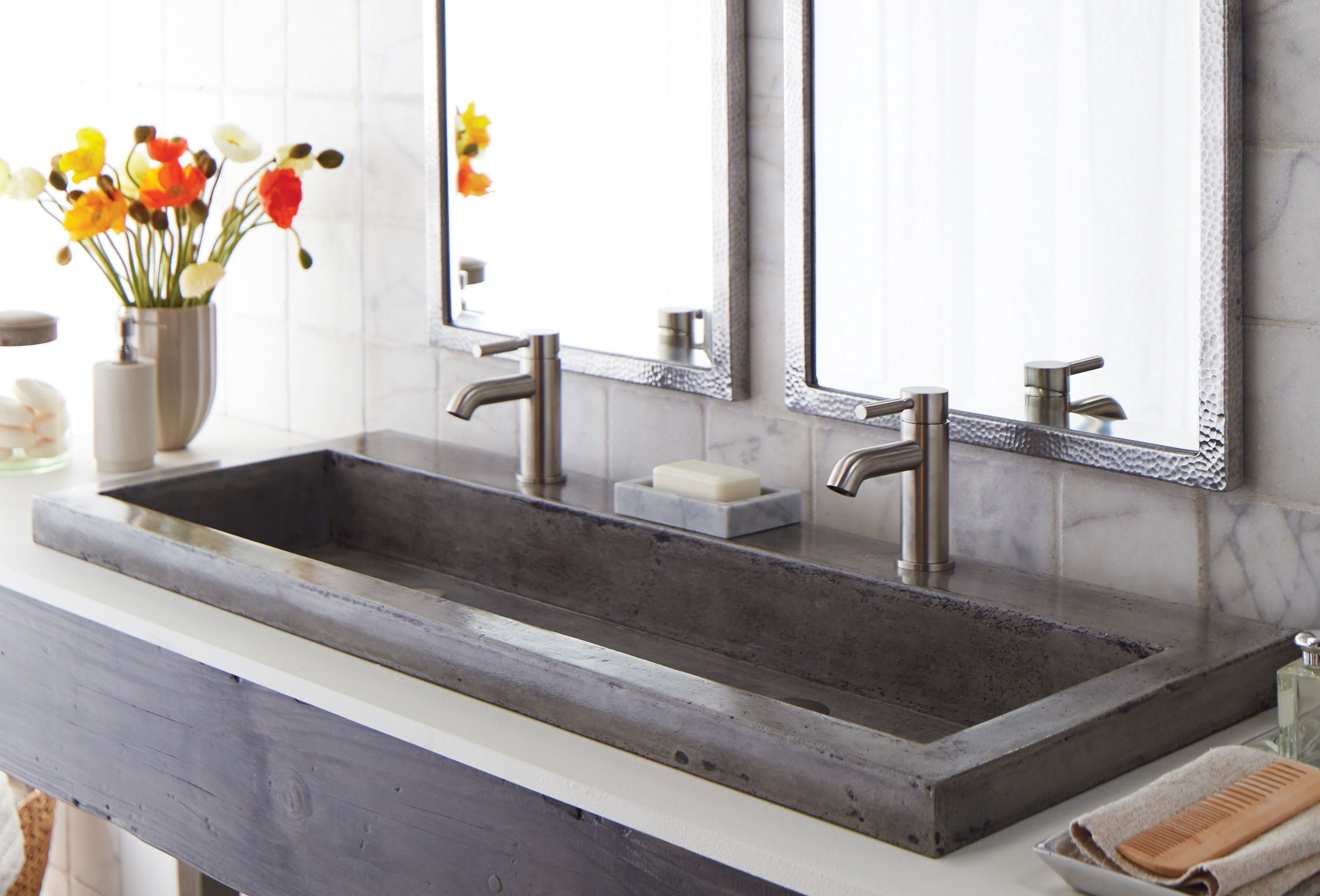 Gray Glaze Concrete With Double Chrome Metal Single Handle Faucet Of Appealing Concrete Drop In Bathroom Sinks Contemporary Bathroom Sinks Mirror Wall Bedroom