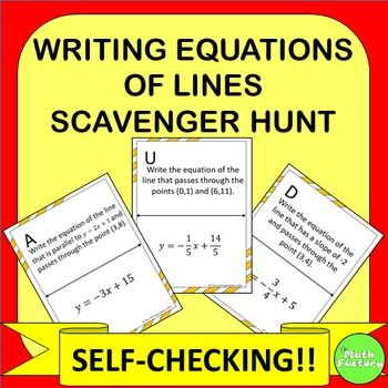 Writing Equations Of Lines Scavenger Hunt Equation Worksheets And