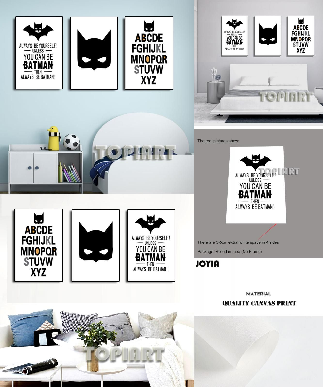 Buy Letters For Wall Alluring Visit To Buy 3 Panel Cartoon Letters Wall Pictures Batman Quotes Inspiration Design