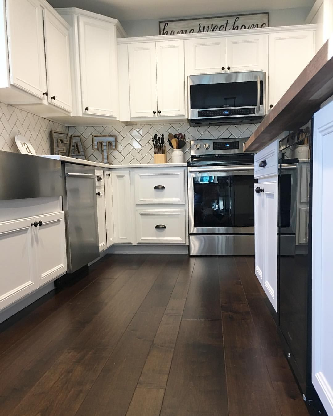 Split Level Fixer Upper Kitchen Remodel White Cabinets Subway Tile Quartz Countertops Bu Trendy Kitchen Tile Replacing Kitchen Countertops Kitchen Remodel