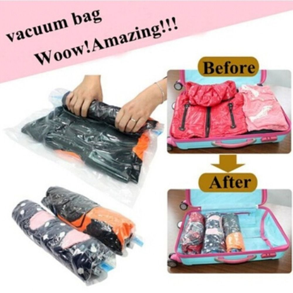 Can Hang Save Space Vacuum Bag Clothes Compression Organizer Pouch Sealed Bag