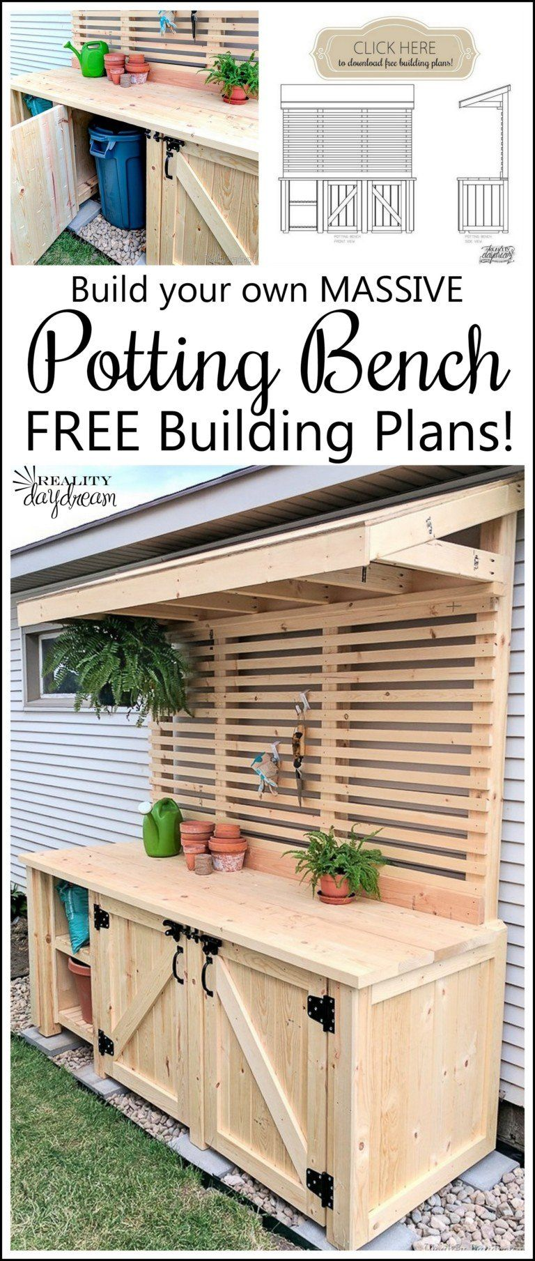 Potting Bench with Hidden Garbage Can Enclosure - Reality Daydream