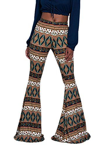 8b53f12accac $17.99-----2X (18/29)-----BROWN--PinkWind Women Stretchy Soft Boho Print  High Waist Flared Bells Floor-length Pants
