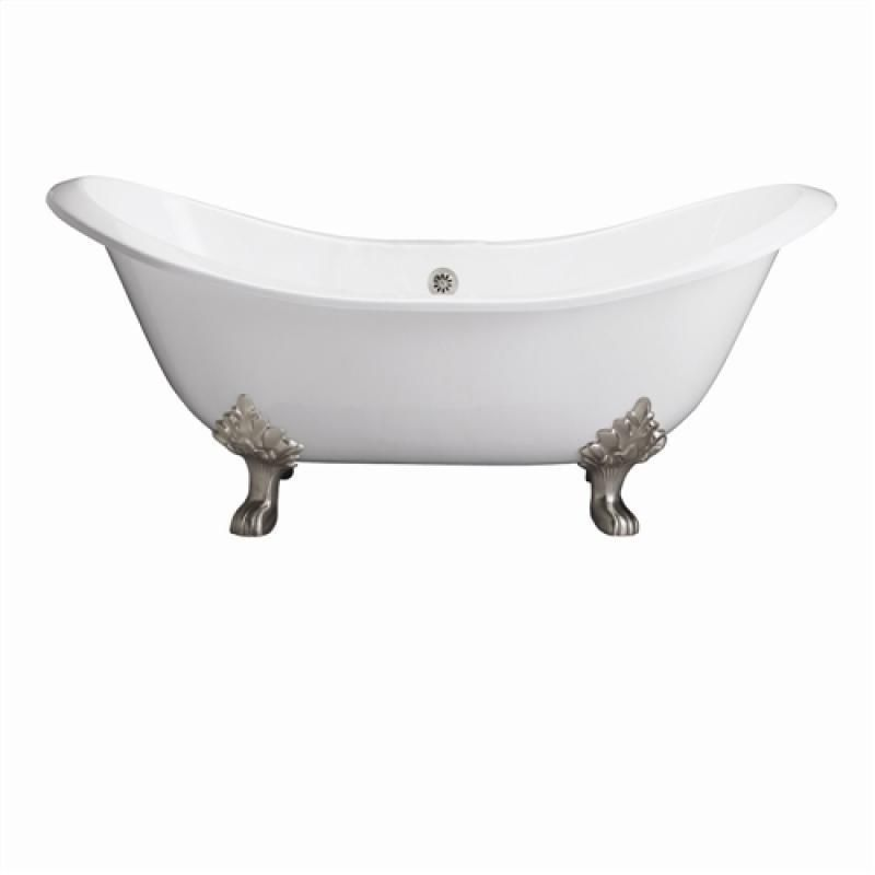 Cast Iron Double Slipper Tub with Exterior and 7-Inch Deck Holes, 71-Inch