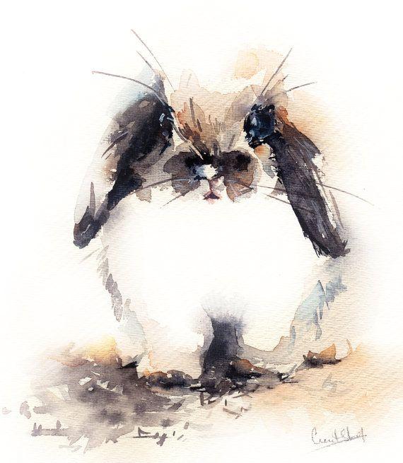 Original watercolor painting of cute bunny rabbit by for Cute watercolor paintings