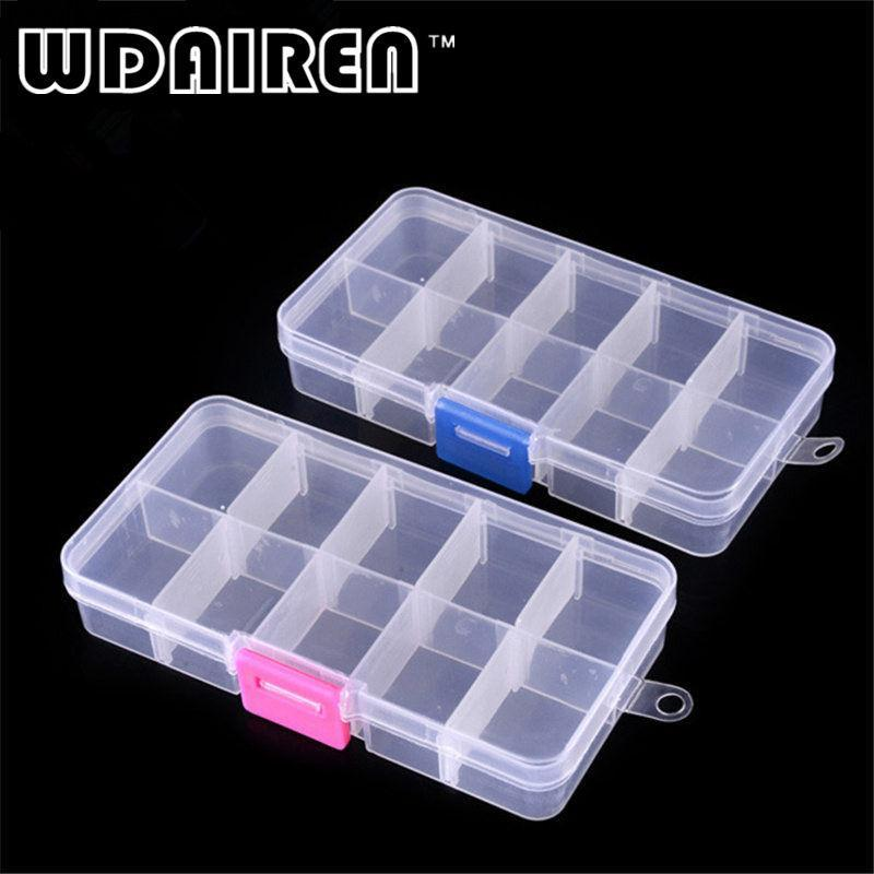 1pcs Plastic Clear Fishing Track Box With 10 Compartments Convenient Tool Case