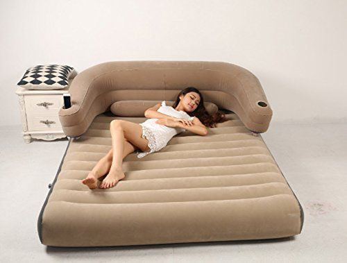 Exceptional Modovo 1in2 Backrest Air Mattress Sofa With Removable Back Cushion Lumbar  Support Cushion Cup Holder U003e