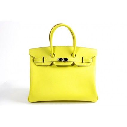 8fa2dbcd6f $23,0000.00 Hermes Fluo Yellow Epsom Leather & Gris Tourterelles Chevre  Leather 35cm Birkin Bag with Palladium Hardware - Candy Collection Limited  Edition