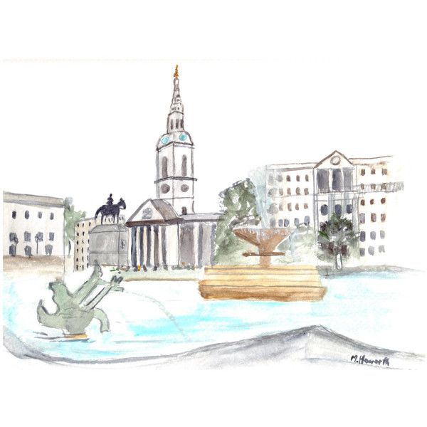 Trafalgar square London, original watercolour painting London painting... ❤ liked on Polyvore featuring home, home decor, wall art, water colour painting, watercolour painting, water color painting, watercolor wall art e london painting