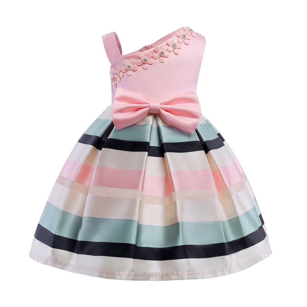 Elegant Stripe Girls Wedding Dress 2018 Summer Baby Girls Princess Dress  Kids Party Dresses For Girls Clothing Children Costume e8bd2e13f3f0