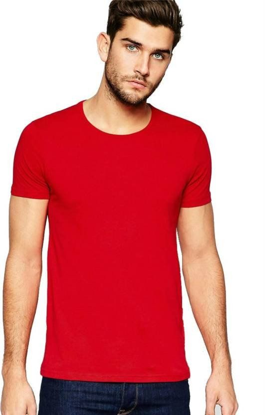 4d253fa1b Plain Red Round Neck T Shirt
