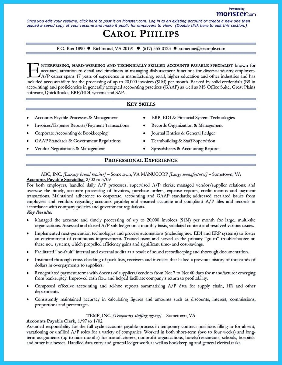 Account Receivable Resume Glamorous Cool Best Account Payable Resume Sample Collections  Resume .