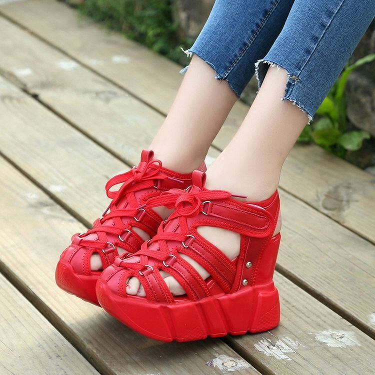 361e055ecb5 Hot Womens Lace Up Wedge Heel Platform Round Toe Sports Sandals Sneakers  Fashion