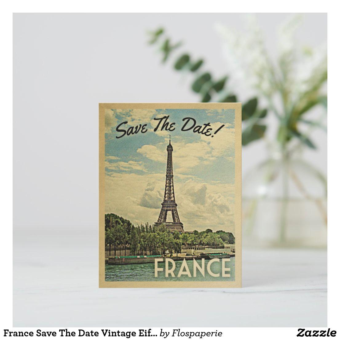 France Save The Date Vintage Eiffel Tower Paris