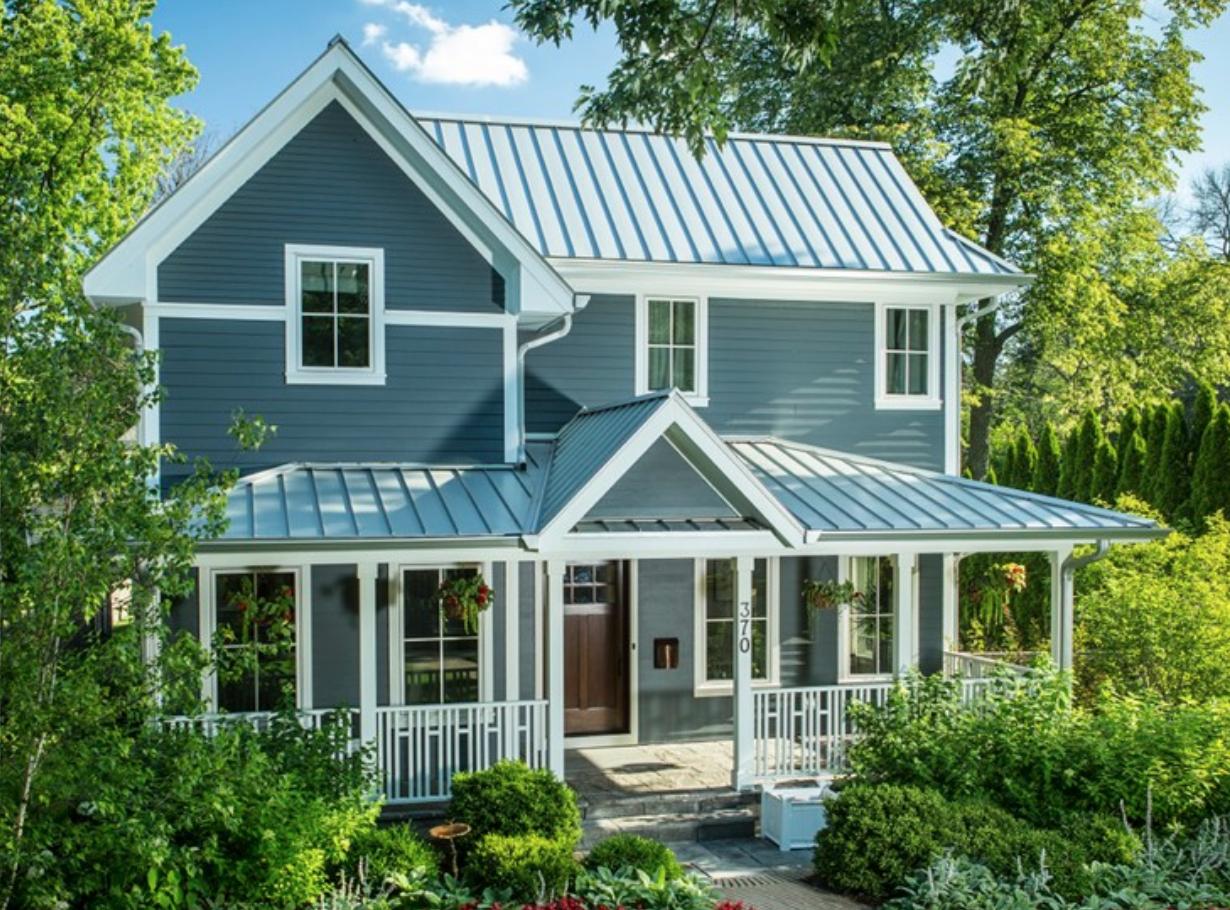 Beautiful Coastal Blue Exteriors The Happy Housie House Exterior Blue Metal Roof Houses House Exterior