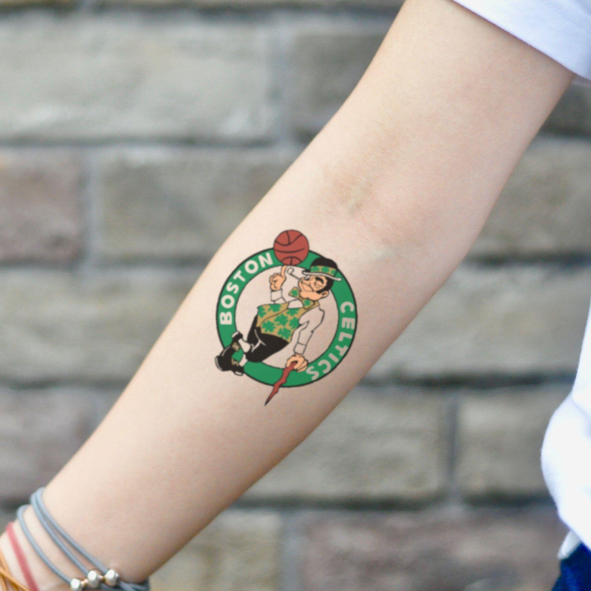 Boston Celtics Temporary Tattoo Sticker Set Of 2 Tattoos Tattoos For Guys Tattoo Stickers [ 2000 x 2000 Pixel ]