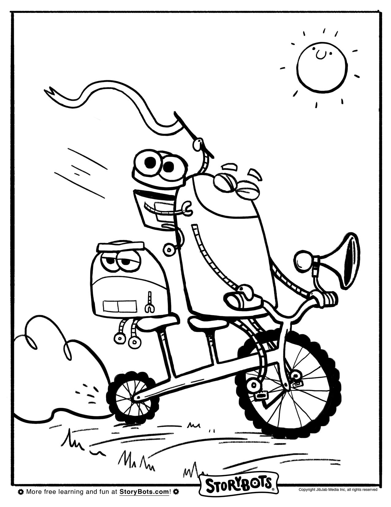 Bike Bot Coloring Sheet | Precious moments coloring pages ...