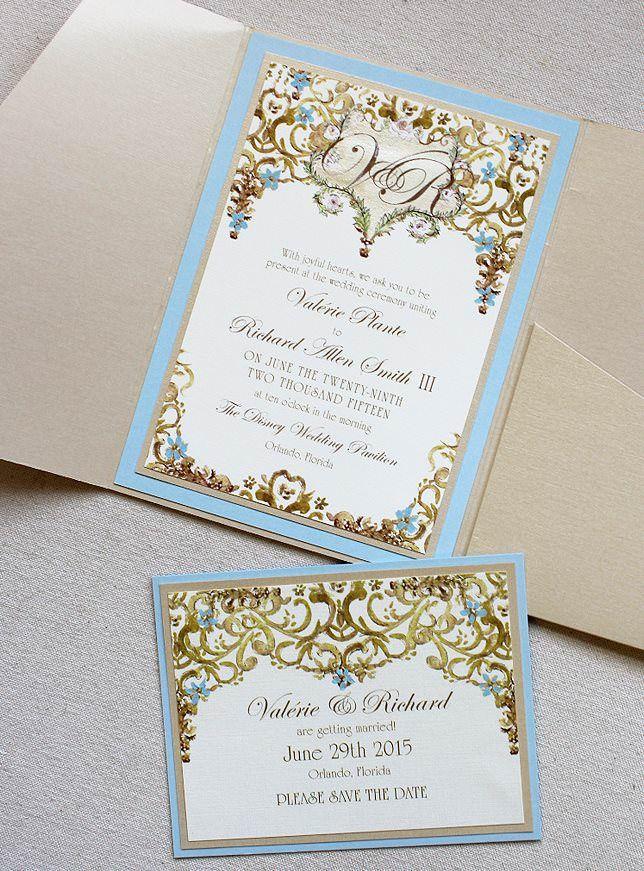 Valerie P Light Blue And Gold Framed Monogram Wedding Invitations