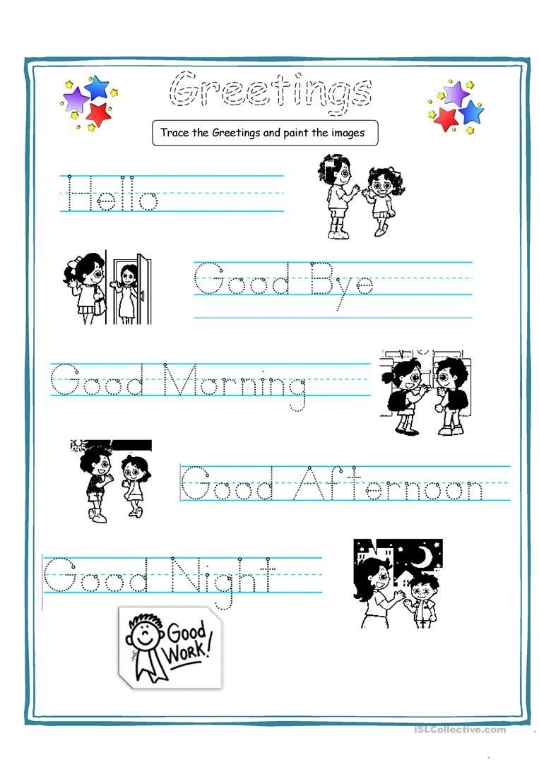 Greetings For Kids Worksheet Free Esl Printable Worksheets