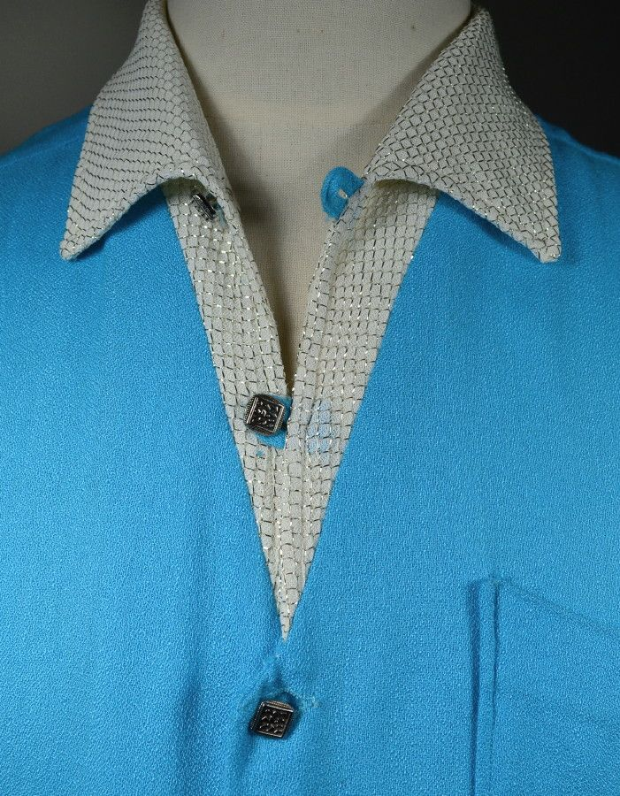 TWO TONE TURQUOISE TEXTURED RAYON 1950's MEN's SPORTSHIRT WITH WHITE & SILVER LUREX COLLAR - L - Available for sale at rpvintage.com.