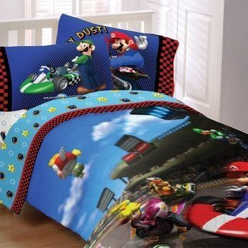 Super Mario Brothers Twin Comforter Sheet Set 4 Piece Bedding